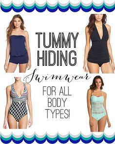 Tummy Hiding Swimwear -- lots of flattering options for ALL body types!