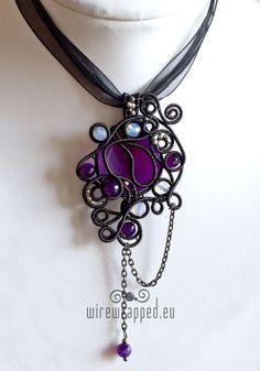I like, its different... Asymmetric purple goth pendant