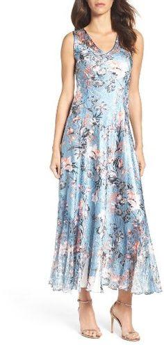 Women's Komarov Charmeuse & Lace Maxi Dress