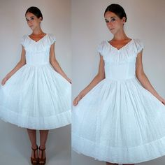 Vintage 50s White Eyelet Cotton Tea Length Party Dress. Full Skirt, Floral Crochet Lace, + Cap Sleeves. Mid Century Wedding Gown Extra Small by BluegrassVoodoo on Etsy