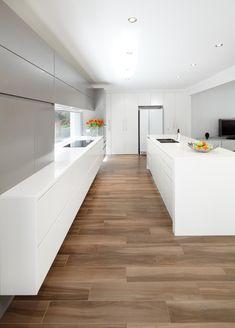 designline kitchens - white and timber kitchen design | atrium