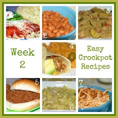 Easy Recipes: Two Weeks of Crockpot Meals Week 2    These look really yummy and are really easy! I will be using this for my menu planning this week :)