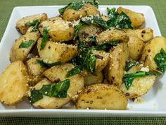 Oven Roasted Potatoes with Spinach
