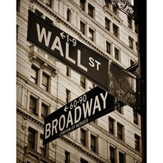 Wall Street & Broadway, New York, NYC, Sepia, Duotone, City, Urban,... ($15) ❤ liked on Polyvore