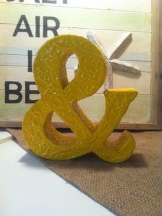 "Ampersand ""&"" sign painted glossy mustard yellow - wedding decor. $18.00, via Etsy."