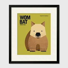 WOMBAT Wildlife of Australia Nursery Art by RedRabbitRepublic