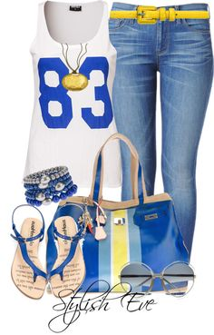 """Noha"" by stylisheve ❤ liked on Polyvore This blue n gold is RHOyal;)"