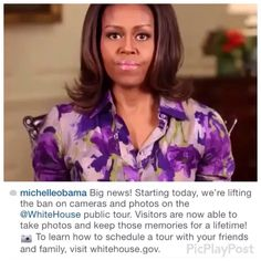 #FLOTUS #MichelleObama Tears Up #WhiteHouse #Photography #Ban #July1st #2015 You Can See Video On YouTube... Michelle Obama tears up White House photography ban High shot of Oval Office The president's Oval Office, among the most famous rooms in the White House Selfie lovers will now be able to snap themselves in the US president's residence, after the White House lifted a decades-old ban on photography.