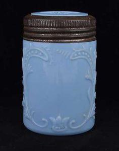 Blue milk glass canning jar