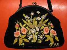 LULU GUINNESS Velvet Embroidered Floral  Handbag by LIFEofOLWEN