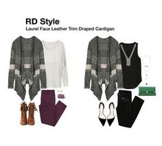Laurel Faux Leather Trim Draped Cardigan from RD Style - Google Search