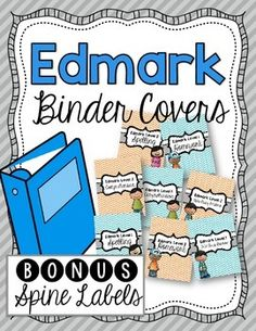 Edmark Binder Covers and Spine LabelsIncluded in this download are covers for Edmark Levels 1 and 2 anticillary lessons (comprehension, homework, spelling, and take away readers). Along with the covers you will receive spine labels for a 1, 2, or 3 inch binder.I use these to organize all my extra materials I use in my classroom.