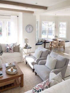 Open concept floor plan, neutral decor, kitchen banquette, Benjamin Moore classic gray, crate and ba Living Room Kitchen, Home Living Room, Living Room Furniture, Living Room Decor, Classic Living Room, Furniture Layout, Interior Design Living Room Warm, Living Room Designs, Living Room Colors