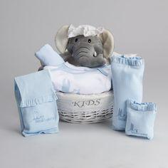 Canastilla Post Hospital Esencial Color Azul. Básicos para el bebé en sus tres primeros meses de vida. #canastillasbebé #regalosbebé #bebedeparis #babygifts