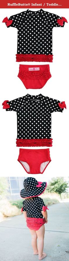 9d76aa36262a4 RuffleButts® Infant / Toddler Girls Red & Black Polka Dot Ruffled Rash  Guard Bikini - Red/Black - This vintage inspired suit will have her looking  retro and ...