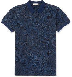 Etro Slim-Fit Paisley-Print Cotton-Piqué Polo Shirt