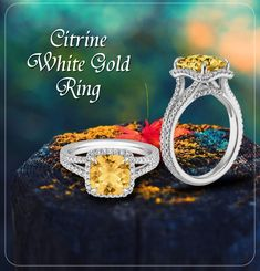 The Citrine rings come in a variety of colors, styles, sizes, and designs. Citrine is characterized by its stunning appearance. Find the most beautiful citrine jewelry such as citrine rings Online. Gold Rings Online, Gold Rings Jewelry, Citrine Ring, Sapphire Gemstone, White Gold Rings, Halo Diamond, Bloom, Engagement Rings, Gemstones