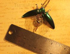 Hello! This is a beautiful Clockwork Jewel beetle pendant. It is a one-of-a-kind OOAK piece, meaning the one seen in the first three photos is the exact one you will receive. It is made using various repro gears and clock parts, vintage electronic pieces, misc jewelry findings and finished with a genuine Swarovski Crystal element. The green wings are real jewel beetle elytra (outer wing cases) and the clear inner wings are handmade by me, made from recycled plastic. Due to the pieces used…