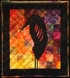 Heron  Cotton fabric, stitch    24-1/2 by 22 inches