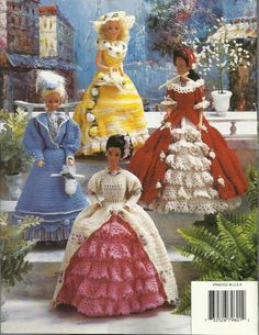 "Victorian Fashion Doll Gowns #1 Crochet Patterns Dresses for Barbie 11 1/2"" NEW"