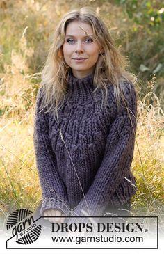 November Woodland / DROPS 216-24 - Free knitting patterns by DROPS Design Drops Design, Sweater Knitting Patterns, Free Knitting, Crochet Patterns, Autumn Jumpers, Magazine Drops, Super Bulky Yarn, Crochet Diagram, Thing 1