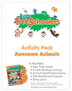This week's free TreeSchoolers Activity Pack is loaded with activities! It teaches signs and concepts taught in Rachel & the TreeSchoolers Ep. 4: Awesome Animals: http://www.signingtime.com/free-friday-animals/