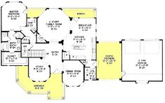 Victorian Style House Plan - 4 Beds 3.50 Baths 2576 Sq/Ft Plan #20-938 Floor Plan - Main Floor Plan - Houseplans.com