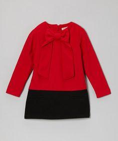 Loving this Paulinie Red & Black Bow-Neck Wool-Blend Dress - Toddler & Girls on #zulily! #zulilyfinds