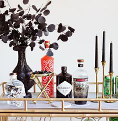 Halloween Bar Cart With Eucalyptus Spray-Painted In Black