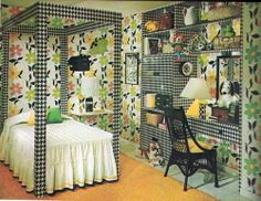 Houndstooth and floral bedroom combo. Houndstooth is back in, but this throwback bedroom definitely needs a modern makeover. #houndstooth #tbt #thatcoversit
