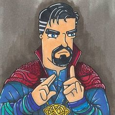 Doctor Strange  I was going to save these for #inktober but I thought I'd start early.  Daily #superhero and #villan doodles coming up!  #superhero #villan #comic #power #comics #drawing #doodle #illustration #colour #ink #pens #art #sketch #instadaily #instamood #fun #happy #smile #cool #marvel #thursday #hobbycraft