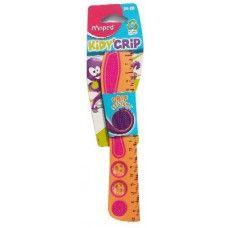 Maped Kidy Grip 20 cm-es iskolai vonalzó - 369Ft Maped Kidy Grip 20 cm -es műanyag vonalzó  Maped kiváló minőségű műanyag egyenes vonalzó 20 centiméter hosszú. A vonalzó egyik oldala skálázva van. A vonalzó mindkét oldalán tapadást segító gumis bevonat van és 2 darab smile sablon. A vonalzó 63%-ban újrafeldolgozott műanyagból készült.