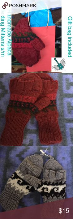 Handmade Alpaca Mittens, Peru, free gift bag FIRM Bundle discount is 10%. Buy them for everyone in the office! They come with colorful tissue, ribbon and a gift bag. Pick from various colors.  These gloves fit small to medium for women. Thank you! Rock Bird Accessories Gloves & Mittens