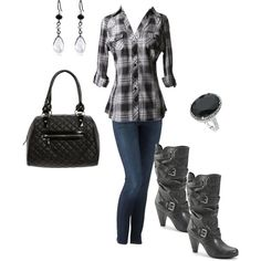 Fall Rocker Chic. don't agree with the bag or earrings but otherwise my style.