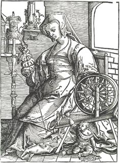 Young woman spinning Lucas_van_Leyden 1513