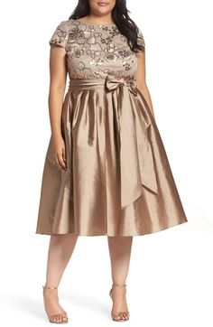 Free shipping and returns on Adrianna Papell Embellished Bodice Party Dress (Plus Size) at Nordstrom.com. Glittering sequins and embroidery trace an elegant floral motif over the cap-sleeve bodice of a delightful party dress resplendent with a lush sash and pleated skirt of luminous taffeta.