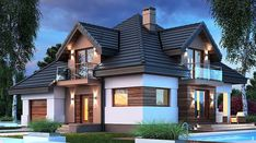 Opałek III N - zdjęcie 1 Storey Homes, Dream House Exterior, Home Fashion, House Plans, Mansions, House Styles, Home Decor, Worksheets, Two Story Houses