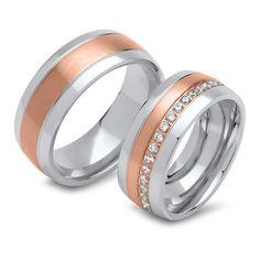 Trauringe Edelstahl teilvergoldet rosé R9243s http://www.thejewellershop.com/ #ringe #unique #edelstahl #thejeweller #marry #zirkonia