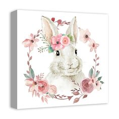 Welcome an enchanting addition to your little one's room with the Floral Bunny Canvas Wall Art from Designs Direct. Ready to hang for convenience, this artwork showcases a sweet bunny surrounded by a floral wreath. Canvas Wall Decor, Home Decor Wall Art, Room Decor, Bunny Blue, Artist Canvas, Canvas Art, Kids Canvas, Lapin Art, Bunny Painting