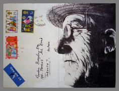 Portrait on Envelope by Mark Powell. Created using Bic Biro pen. Using mundane materials to make something stunning.