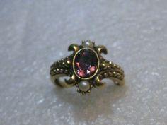 Vintage Avon Amethyst Pearl Ring, Victorian Themed, Adj. 6-8.5, 1970's #Avon #fashioncocktail
