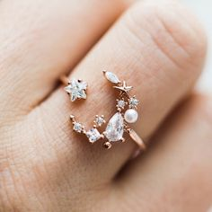 Moonlight Ring in Rose Gold Diamond Earrings, Jewelry, Fashion, Rose Gold, Jewelry Design, Rings, Diamond Studs, Jewellery Making, Moda