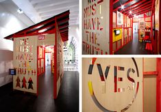 A mono-pitch red timbered chalet, black tile roof and multi-veneer board laser cut #Exhibition Design