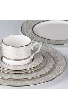 This Fine China Set Has A Beautiful Pattern Of Raised White Pearl Shaped  Dots. The Light Grey Border Color Encircled Around The Bone China With Its  Platinum ... Nice Ideas