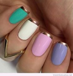 Loving the combination of colors! Perfect for spring time ♥️ Tutorials and Ideas For 2016 and 2017!  Covers Everything From Gel And Acrylic To Matte, Glitter, Design and Colors.  Simple Ideas For Blue, Pink, Stiletto, Pastel, Shellac, French, Coffin, Almond, Short, Long, Oval, Round and Even Toe Nails.  Great For Keeping Up With Trends.  Beautiful, Simple, DIY and Fun!
