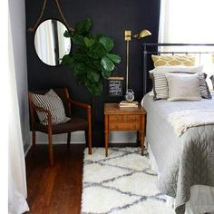 @makemyhousehome on Instagram: Keeping things cost with a dark wall and Moroccan fluffy rug...