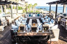 Tequila bar by the fire pit overlooking the sea at Esperanza in Cabo San Lucas, Mexico
