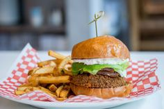 Falafel Burger - Greek yoghurt, Bibb lettuce, grilled red onions, spicy peanut butter #Vegetarian #Toronto #Restaurant #Food