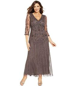Mother Of The Bride - Pisarro Nights Plus Size Three-Quarter-Sleeve Beaded Gown - Wedding Gowns Mother Of Groom Dresses, Bride Groom Dress, Mothers Dresses, Tea Length Dresses, Plus Size Dresses, Plus Size Flapper Dress, Mom Dress, Beaded Gown, Bridesmaid Dresses