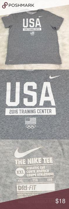 "Nike Dri-Fit Men's Team USA Tee XXL Athletic Cut Nike Dri-Fit Men's Team USA 2016 Tee XXL Athletic Cut   Measurements:  Armpit to Armpit: 25 1/2"" Shoulder: 5 1/2"" Sleeve: 9"" Length: 29"" Nike Shirts Tees - Short Sleeve"